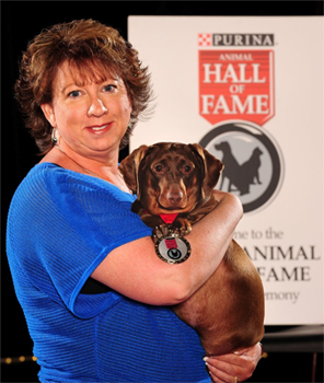 Bree with her owner Michele Gilks at the Purina Animal Hall of Fame ceremony.