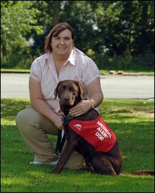 Coco with his owner Karen Ruddlesden, who suffers from Addison's Disease.