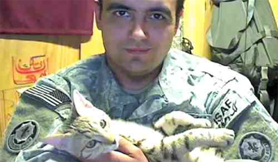 Sgt. Knott and his comfort cat Koshka.