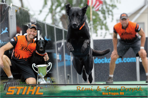Remi and his owner Tom Dropik enjoy competing in Dockdog competitions around the country.