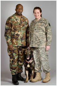 MA1 John Washington, MWD Renato and Veterinarian, CPT Michele Pfannenstiel