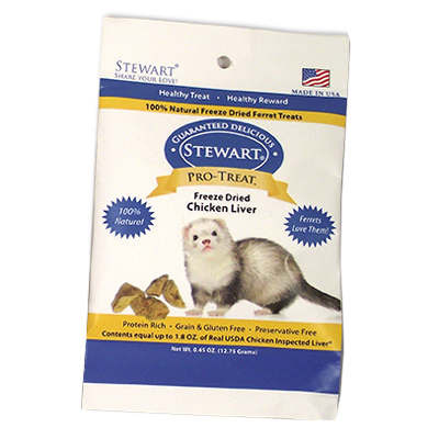 Stewart® Pro-Treat® Chicken Liver Freeze Dried Treats for Ferrets, .45 oz. I003183