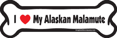 "I Love My Alaskan Malamute Dog Bone Magnet 7"" 19050015"