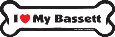 "I Love My Bassett Dog Bone Magnet 7"" 19050055"