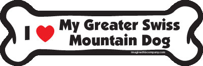 "I Love My Greater Swiss Mountain Dog Bone Magnet 7"" 19050302"