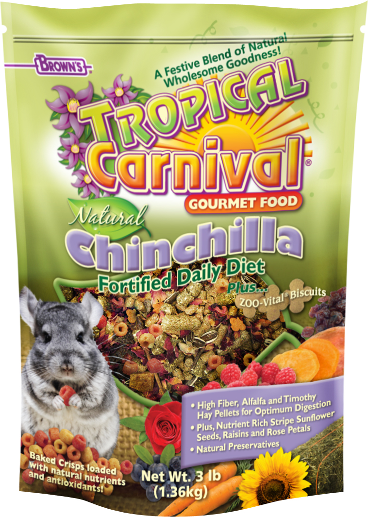 Tropical Carnival Natural Chinchilla Fortified Daily Diet Gourmet Food 3lbs.  57053