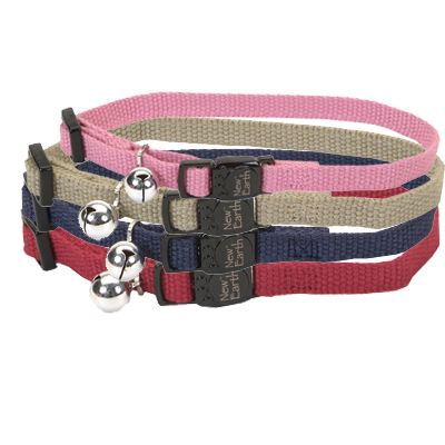 New Earth™ Soy Adjustable Cat Collars With Bell 71621e