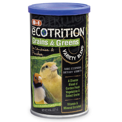 Ecotrition Grains and Greens Variety Blend for Canaries and Finches. Bird food  8 oz. 75533