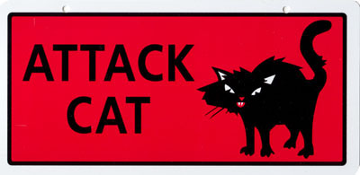 Attack Cat Sign 5 in. x 10 in.