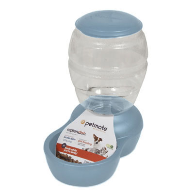 Petmate® Replendish™ Pearl Blue Feeders and Waterers 147404b