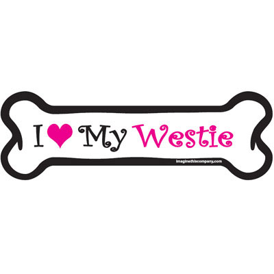 Dog Bone Magnet in Pink West Highland Terrier 29050555
