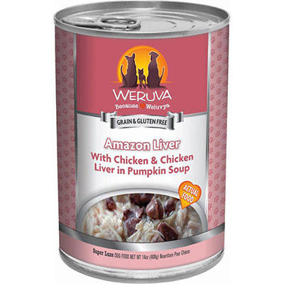 WERUVA Amazon Liver with Chicken and Chicken Liver in Pumpkin Soup Canned Dog Food 14 oz. 111542