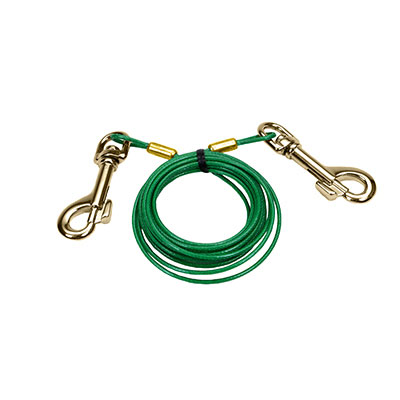 Titan® Puppy Tie Out Cable with Brass Plated Snaps 12' 49948