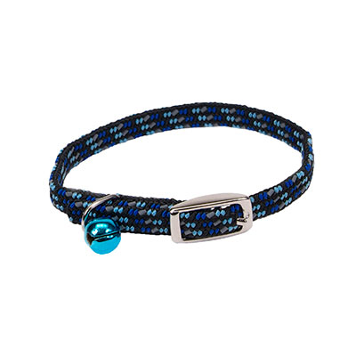 "Coastal Li'l Pals Elasticized Safety Kitten Collar with Reflective Thread Blue 5/16"" 72930"
