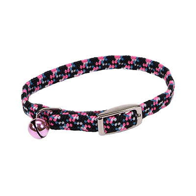 "Coastal Li'l Pals Elasticized Safety Kitten Collar with Reflective Thread Pink 5/16""  72931"