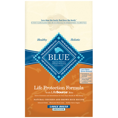 Blue Buffalo Chicken & Brown Rice Recipe for Large Breed Senior Dogs 30 lbs. I000185