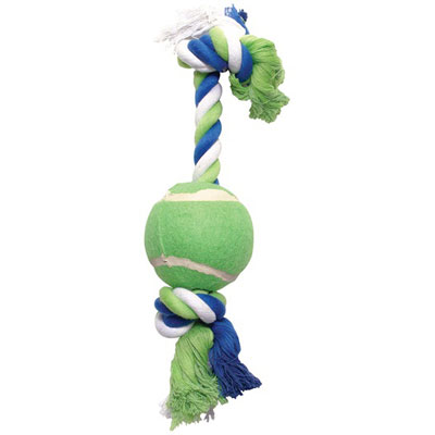 Dogit® Multicolored Knotted Rope Bone with Tennis Ball Dog Toy I000291b