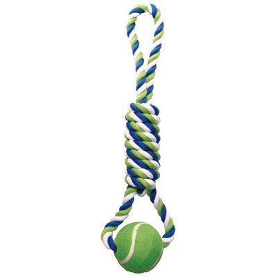 Dogit® Multicolored Spiral Tug with Tennis Ball Knotted Rope Dog Toy I000296