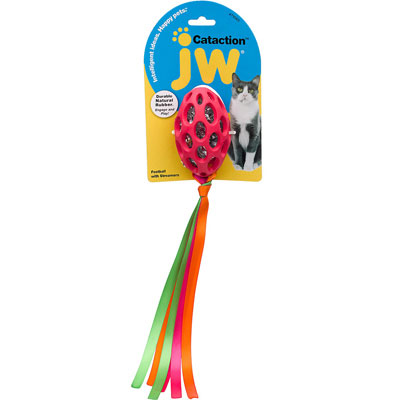 JW® Pet Cataction™ Football With Streamers Cat Toy I001669