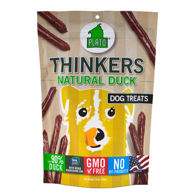 Plato® Thinkers Smart Dog Snacks Resealable Pouch Duck I002083