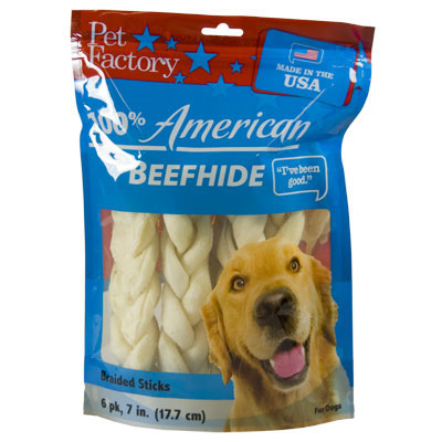 Pet Factory 100% American Beefhide Braided Sticks, 6 pk. I002560