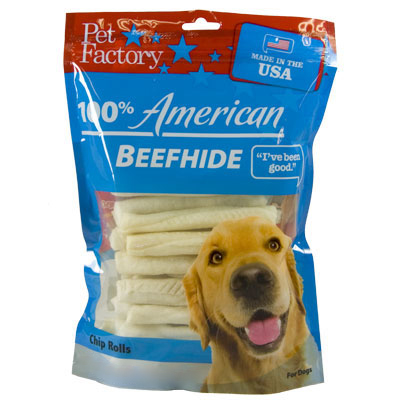 Pet Factory 100% American Beefhide Chip Rolls, 22 pk. I002561