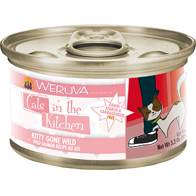 WERUVA Cats in the Kitchen Kitty Gone Wild – Wild Salmon Recipe Au Jus Canned Cat Food 3.2 oz I003047