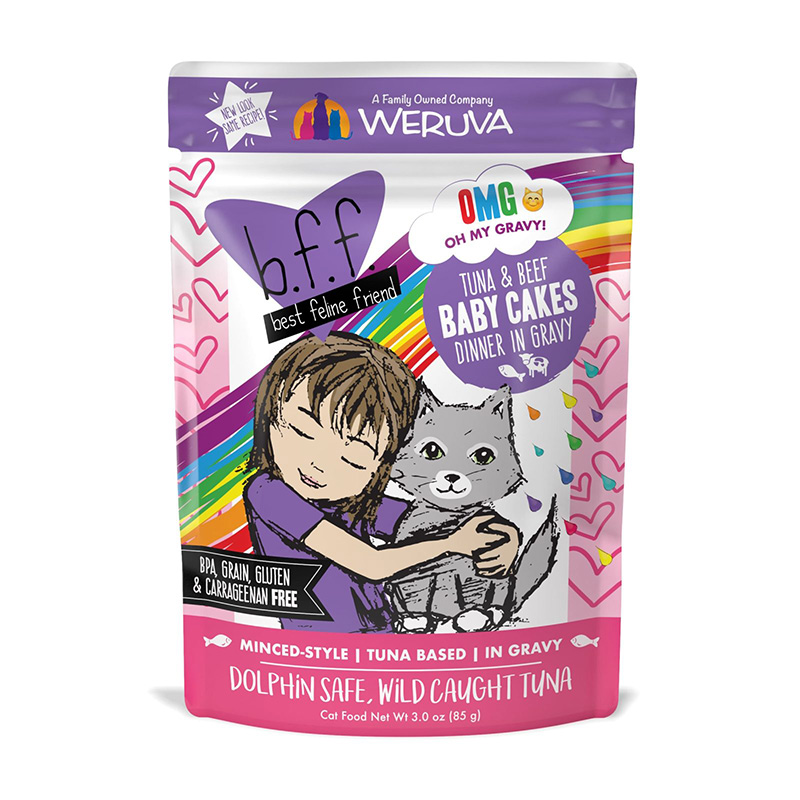 WERUVA b.f.f. Best Feline Friend Tuna & Beef Baby Cakes Recipe in Gravy Pouch 3oz I003065
