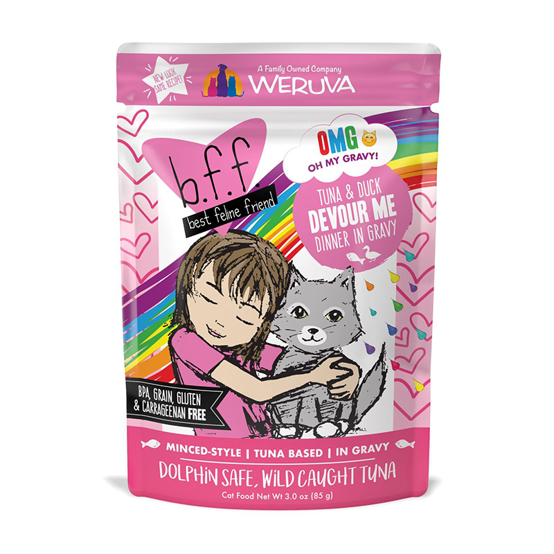 WERUVA b.f.f. Best Feline Friend Tuna & Duck Devour Me Recipe in Gravy Pouch 3oz I003075