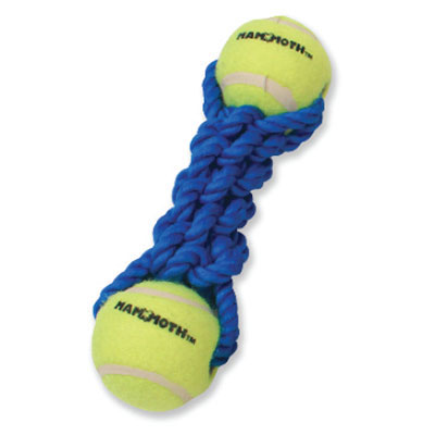 Mammoth® Flossy Chews® Braided Bone with Two Balls Dog Toys I004386b