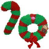 Multipet Jumbo Floppy Candy Cane & Wreath Holiday Dog Toys I005437b