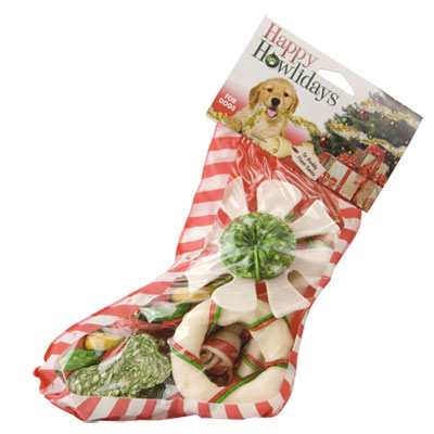 Pet Factory Happy Howlidays Dog Stockings With Rawhide Treats I006086b