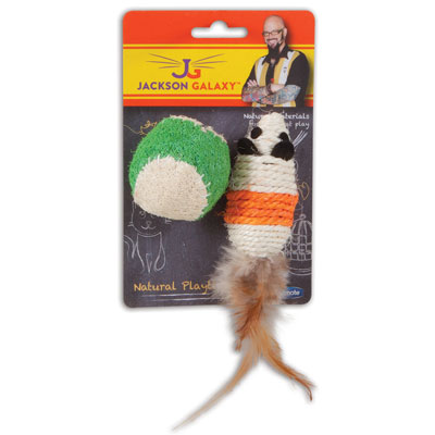 Petmate® Jackson Galaxy™ Natural Playtime™ Rope Mouse with Ball I006881
