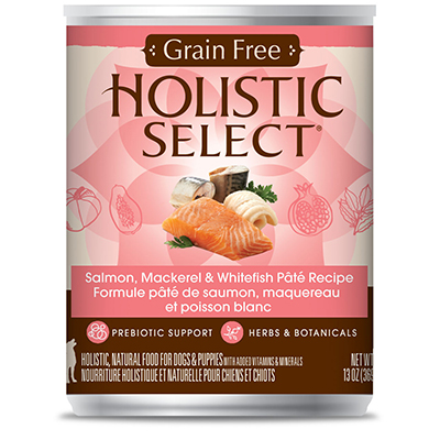 Holistic Select® Greain Free Salmon, Mackerel & Whitefish Page Recipe Dog Food 13 oz. I007959