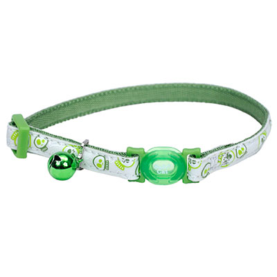 Coastal® Safe Cat® Glow in the Dark Adjustable Breakaway Collar Lime Skulls I008467