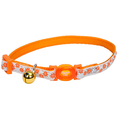 Coastal® Safe Cat® Glow in the Dark Adjustable Breakaway Collar Orange Flowers I008468