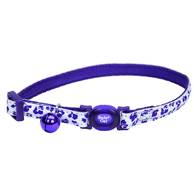 Coastal® Safe Cat® Glow in the Dark Adjustable Breakaway Collar Purple Leopard I008469