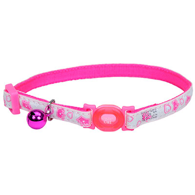Coastal® Safe Cat® Glow in the Dark Adjustable Breakaway Collar Pink Queen I008470