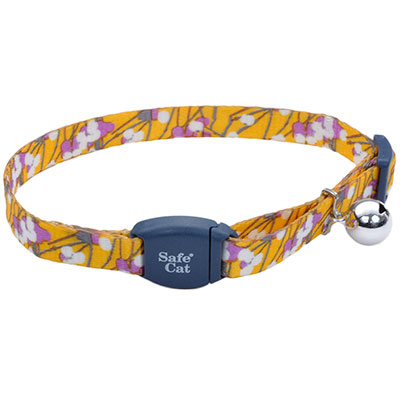 "Coastal Safe Cat Adjustable Breakaway Collar with Magnetic Buckle 3/8"" X 8""-12"" Charcoal Stemmed Flower I008471"
