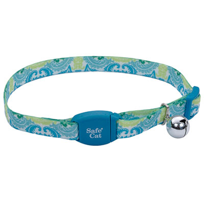 "Coastal Safe Cat Adjustable Breakaway Collar with Magnetic Buckle 3/8"" X 8""-12""  Teal Peacock I008479"