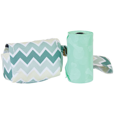 Bags on Board® Waste Pick-up Fashion Dispenser- Green Chevron I009299