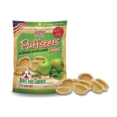 Loving Pets Puffsters® All Natural Air-Puffed Snack Chips Apple & Chicken 4 oz. I009789