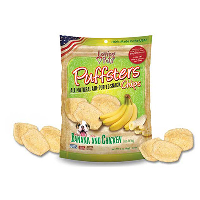 Loving Pets Puffsters® All Natural Air-Puffed Snack Chips Banana & Chicken 4 oz. I009790