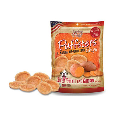 Loving Pets Puffsters® All Natural Air-Puffed Snack Chips Sweet Potato & Chicken 4 oz. I009791