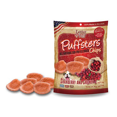 Loving Pets Puffsters® All Natural Air-Puffed Snack Chips Cranberry & Chicken 4 oz. I009792