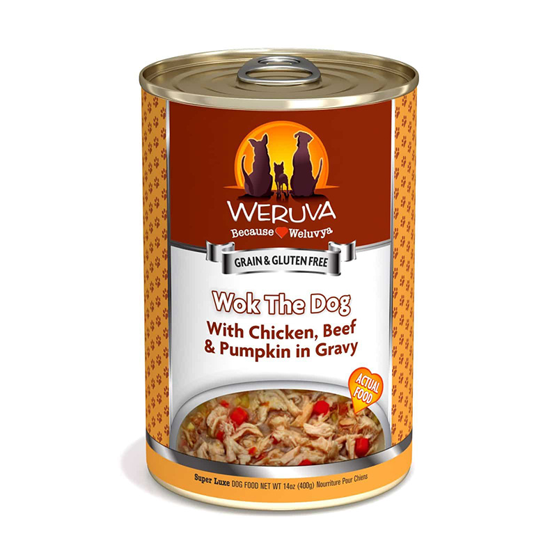 WERUVA Wok the Dog – With Chicken, Beef and Pumpkin in Gravy Canned Dog Food 14 oz. 111543