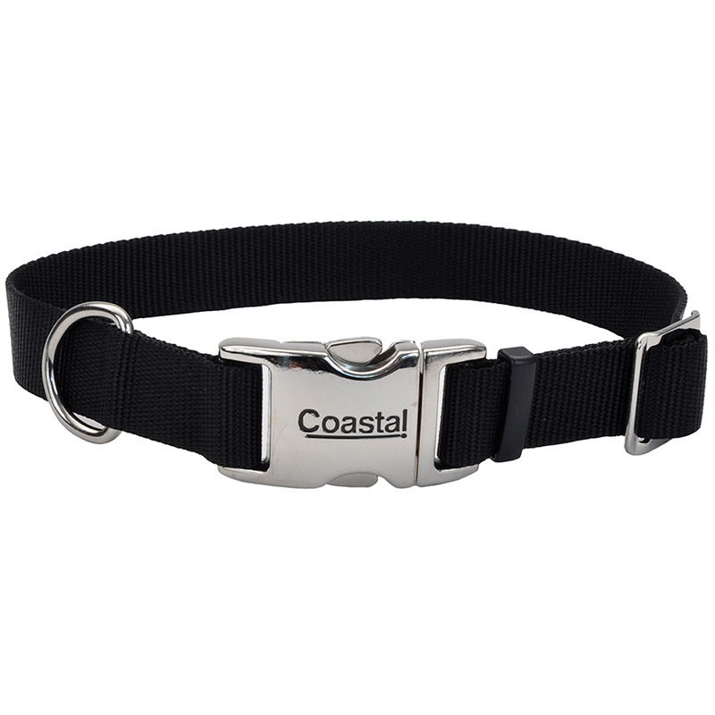 "Coastal Adjustable Dog Collar with Metal Buckle Black 1"" x 14""-20""  I006486"