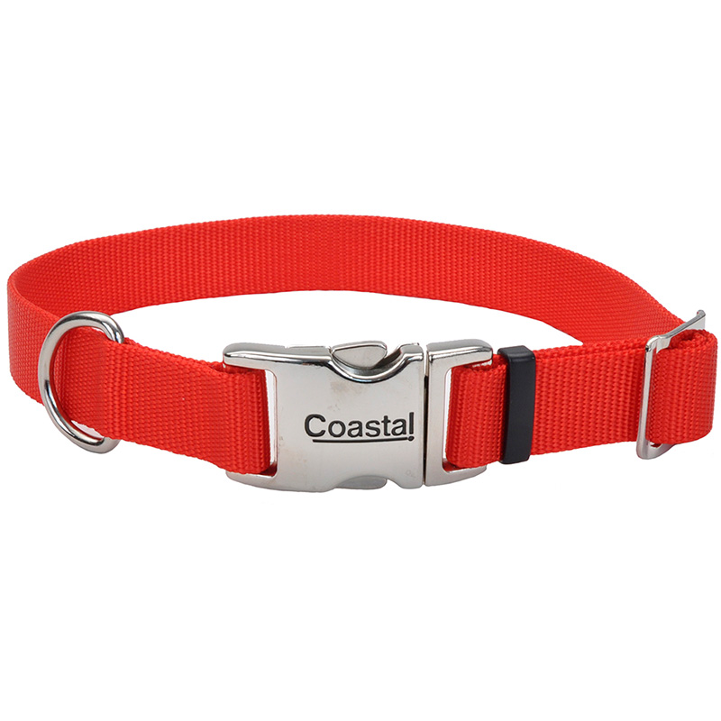 "Coastal Adjustable Dog Collar with Metal Buckle Red 1"" x 14""-20""  I006494"