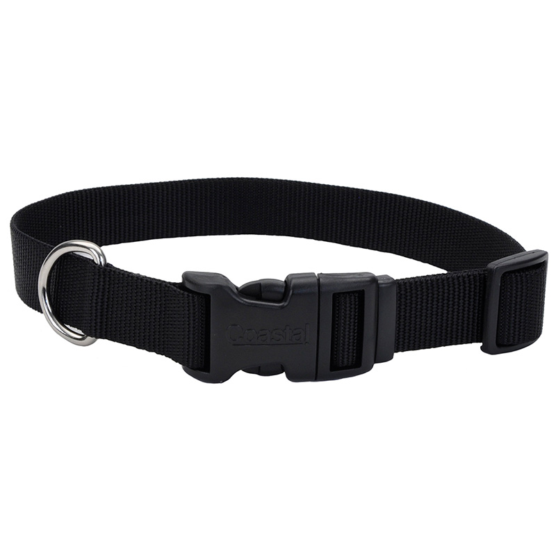 Coastal Adjustable Dog Collar with Plastic Buckle Black I006321b