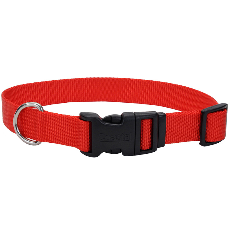 "Coastal Adjustable Dog Collar with Plastic Buckle Red 3/4"" x 14""-20"" 33032"